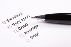 Onderzoek met uitstekende, zeer goede, goede, gemiddelde en slechte antwoorden royalty-vrije stock afbeelding