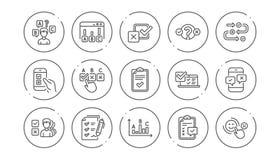 Onderzoek of Rapportlijnpictogrammen Advies, Klantentevredenheid en Terugkoppelingsresultaten Lineaire Pictogramreeks Vector stock illustratie