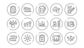 Onderzoek of Rapportlijnpictogrammen Advies, Klantentevredenheid en Terugkoppelingsresultaten Lineaire Pictogramreeks Vector vector illustratie