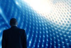 Onderzoek toekomstig technologieblauw als achtergrond Stock Foto
