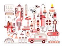 Onderzoeklaboratorium en farmaceutische vervaardiging Royalty-vrije Stock Afbeelding