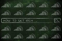 Onderzoeksbar met contant geldpictogrammen en onderzoek over voordelige online bu Royalty-vrije Stock Foto