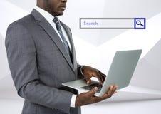 Onderzoeksbar met de mens op laptop Royalty-vrije Stock Fotografie