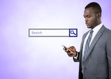 Onderzoeksbar met de mens op telefoon Royalty-vrije Stock Foto