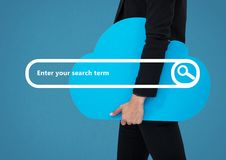 Onderzoeksbar met de wolk van de zakenmanholding Stock Foto