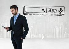 Onderzoeksbar met zakenman op telefoon Royalty-vrije Stock Afbeeldingen