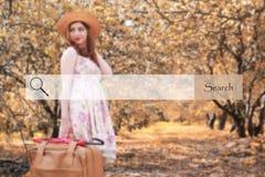 Onderzoeksbar op de achtergrond vage foto van een meisje met leathe Stock Foto's