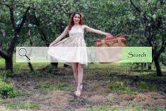 Onderzoeksbar op de achtergrond van vaag het meisjesverstand van de beeldenlente Stock Fotografie