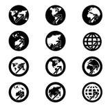 Onderzoekspictogram, het teken van de wereldkaart, visieconcept. (krediet Royalty-vrije Stock Afbeeldingen