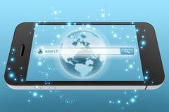 Onderzoeksvenster op het mobiele telefoonscherm Stock Afbeelding