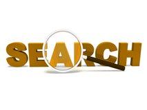 Onderzoeksword toont het Web en online Onderzoekend vindt Stock Foto