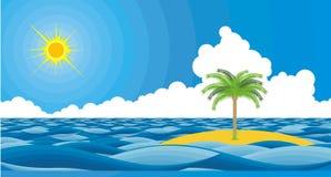 Ondes d'été d'île et de mer Illustration de Vecteur