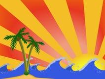 Ondes et paumes sur le coucher du soleil Photos libres de droits