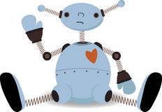 Ondes se reposantes tristes de robot Photo stock