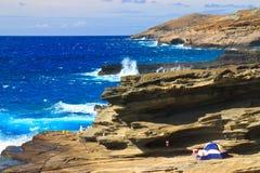 Ondes tombantes en panne, Oahu du sud-est Photos stock