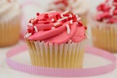 Ondiepe Diepte van gebied-Vanille Cupcake Royalty-vrije Stock Afbeelding
