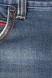ondiepe DOF De textuur van jeans Fragment van jeansbroeken royalty-vrije stock fotografie
