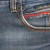 ondiepe DOF De textuur van jeans Fragment van jeansbroeken stock afbeeldingen