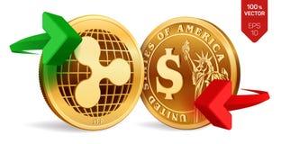 Ondinha à troca de moeda do dólar ripple Moeda do dólar Cryptocurrency Moedas douradas com símbolo da ondinha e do dólar com ilustração stock