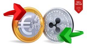 Ondinha à troca de moeda do Euro ripple Euro rasgado ao meio de encontro ao fundo velho Cryptocurrency Moedas douradas e de prata ilustração royalty free