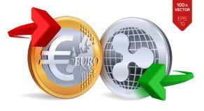 Ondinha à troca de moeda do Euro ripple Euro rasgado ao meio de encontro ao fundo velho Cryptocurrency Moedas douradas e de prata ilustração stock
