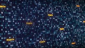 A ondinha subtitula aparecer entre a mudança de símbolos hexadecimais em um tela de computador rendição 3d Foto de Stock