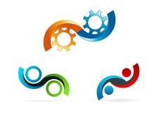 Oändlighetslogo, cirkelkugghjulsymbol, service, konsultera, symbol och conceptof den oändliga teknologivektordesignen Royaltyfri Bild