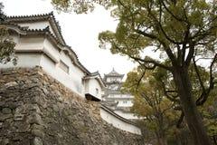 Ondoordringbare muur van het Kasteel van Himeji, Japan Stock Fotografie