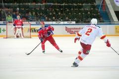 Ondrej在行动的Nemec (28)对曲棍球赛 免版税库存图片