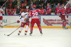 Ondrej在行动的Nemec (28)对曲棍球赛 免版税库存照片