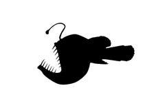 ondsint silhouette för fiskhauliod Arkivfoto