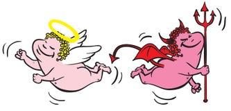 Ondska vs. ängel Arkivbilder