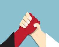 Ondska vs guden som armwrestling, löfte, konkurrens royaltyfri illustrationer
