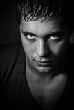 ondskan eyes den läskiga mannen Arkivfoto