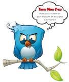 Ondskefull blå fågel stock illustrationer