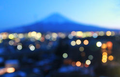 Onduidelijk beeld bokeh achtergrond van onderstelfuji, Japan stock fotografie