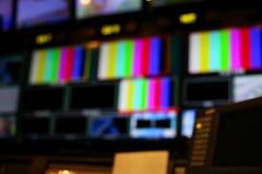 Onduidelijk beeld van Switcher knopen in de post Audio en Videop van studiotv stock afbeeldingen