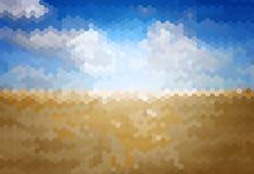 Onduidelijk beeldachtergrond met blauwe hemel over de steppe Stock Foto's