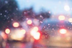 Onduidelijk beeldbeeld van autolicht bij nacht royalty-vrije stock fotografie