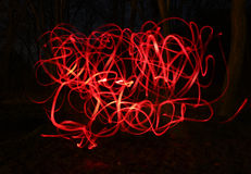 Onduidelijk beeldfoto van rode fietslampen Royalty-vrije Stock Afbeeldingen