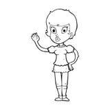ondulação bonita da menina dos desenhos animados Imagens de Stock Royalty Free