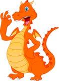 Ondulação bonito dos desenhos animados do dragão do fogo Foto de Stock Royalty Free