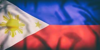 Ondulação da bandeira de Republic of the Philippines Foto de Stock Royalty Free
