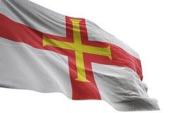 Ondulação da bandeira nacional de Guernsey isolada na ilustração branca do fundo 3d ilustração do vetor