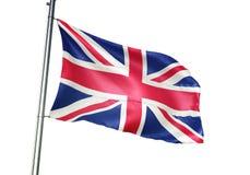 Ondulação da bandeira nacional de Reino Unido isolada na ilustração 3d realística do fundo branco ilustração do vetor