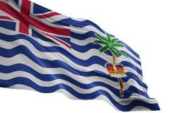 Ondulação da bandeira nacional do Território Britânico do Oceano Índico isolada na ilustração branca do fundo 3d ilustração royalty free