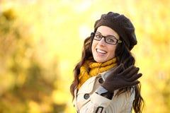 Ondulação da mulher da forma do outono Fotografia de Stock