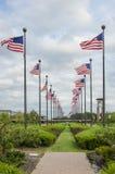 Ondulação das bandeiras americanas Fotografia de Stock Royalty Free