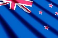 Ondulação de Nova Zelândia e ilustração coloridas da bandeira do close up ilustração stock