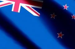 Ondulação de Nova Zelândia e ilustração coloridas da bandeira do close up ilustração do vetor